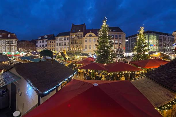 Christmas market at Market Square of Gottingen, Germany stock photo