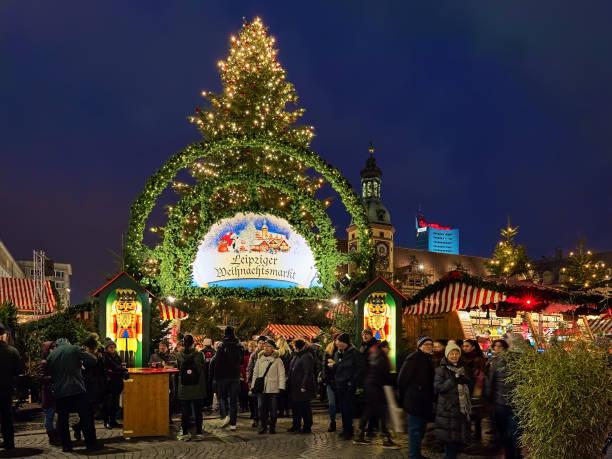 Christmas market at Marktplatz in Leipzig, Germany stock photo