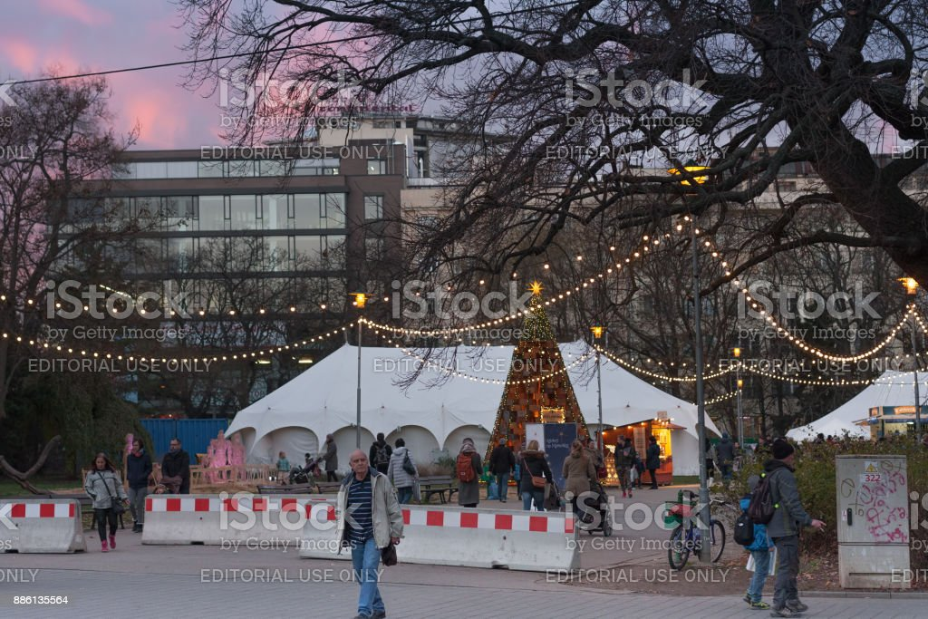 Christmas market at Moravian Square at sunset time stock photo