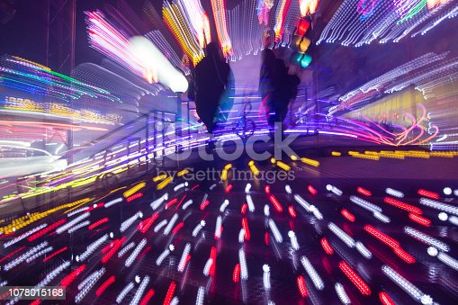 istock Christmas market at night, Blurred motion Lights of Fair Park 1078015168