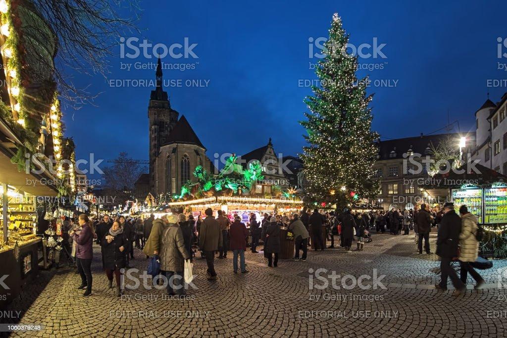 Christmas In Stuttgart Germany.Christmas Market At Schillerplatz Square In Stuttgart