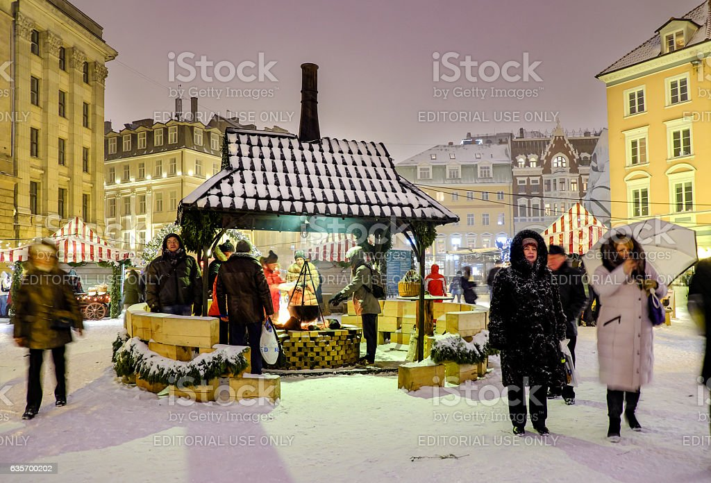 Christmas market at the Dome square in Riga Old Town royalty-free stock photo