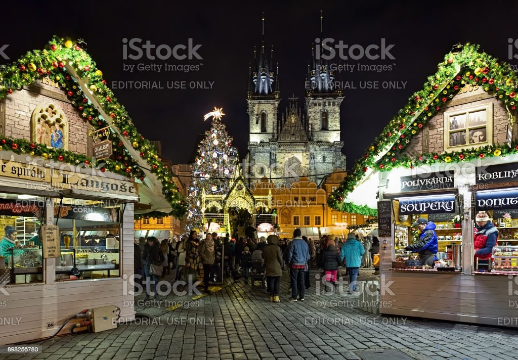 Prague, Czech Republic - December 5, 2017: Christmas market at the...