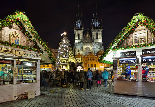 Christmas market at the Old Town Square of Prague in night, Czech Republic stock photo