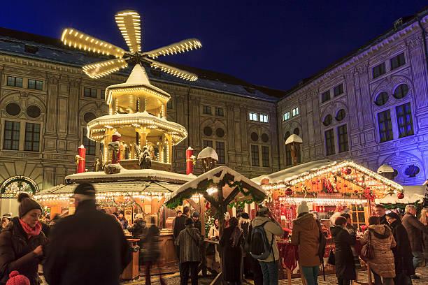 Christmas Market at the Residenz, Munich stock photo
