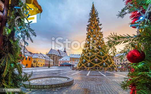 Christmas market and decorations tree in center of Brasov town, Transylvania, Romania