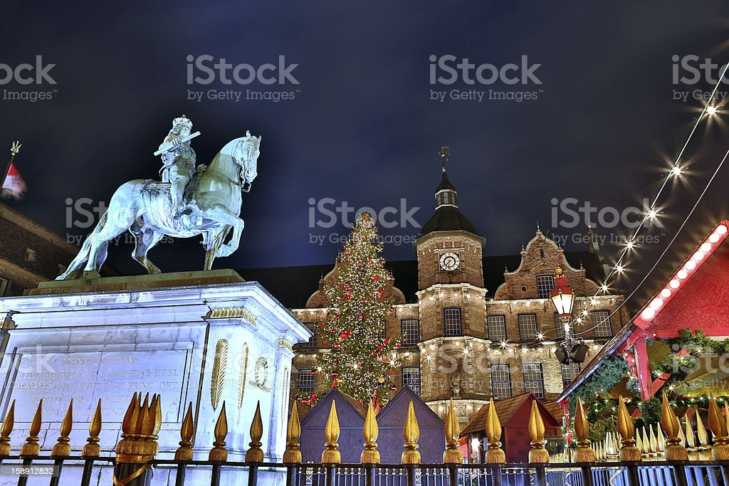 Christmas Market Dusseldorf Germany HDR - Royalty-free Bronze Statue Stock Photo