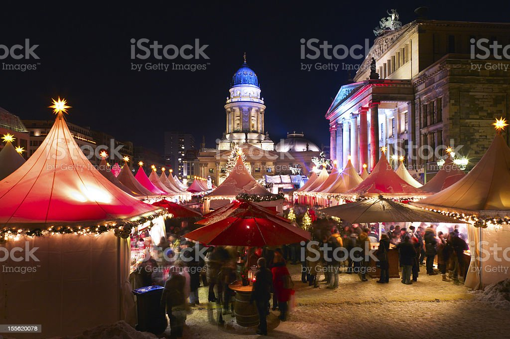 A Christmas market in Berlin at night stock photo