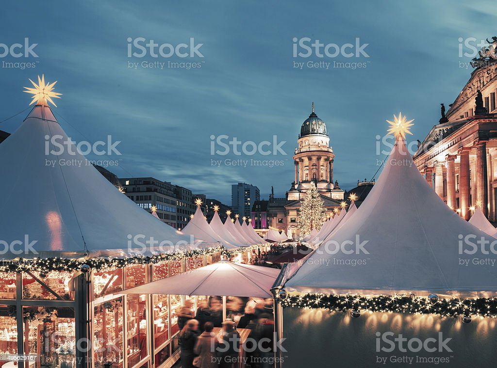 Christmas market in Berlin, toned image, text space - Royalty-free Advent Stock Photo