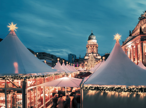 Christmas Market In Berlin Toned Image Text Space Stock Photo - Download Image Now