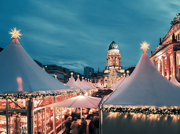 Christmas market in Berlin, toned image, text space Chtristmas market in Berlin, square composition, toned image gendarmenmarkt stock pictures, royalty-free photos & images