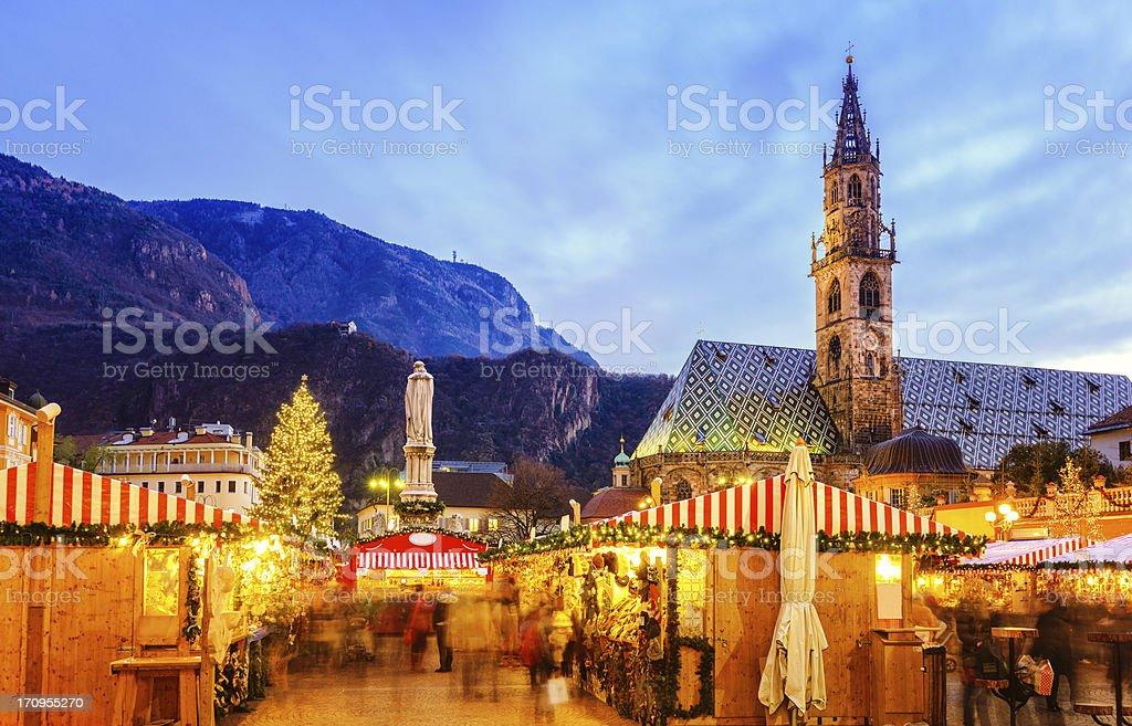 Christmas market in Bozen, South Tyrol stock photo