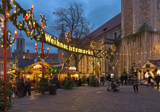 Christmas market in Braunschweig, Germany stock photo