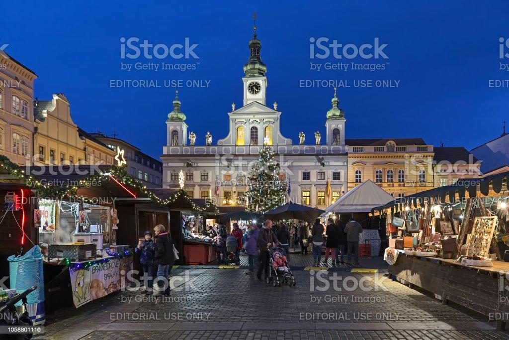 Christmas market in Ceske Budejovice, Czech Republic stock photo