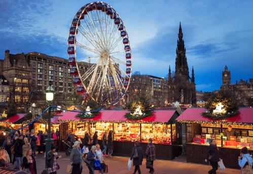 Christmas Market In Edinburgh Scotland Stock Photo - Download Image Now