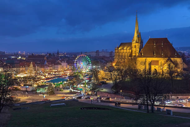 Christmas market in Erfurt, Germany stock photo