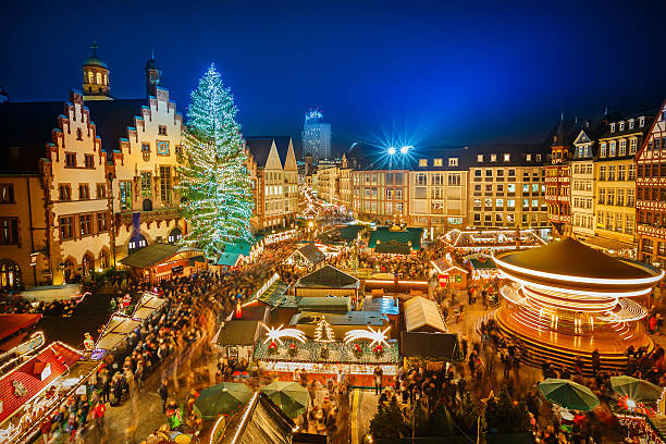 Christmas market in Frankfurt Traditional christmas market in the historic center of Frankfurt, Germany germany stock pictures, royalty-free photos & images