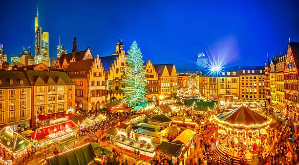 weihnachts-markt in frankfurt - stadt frankfurt stock-fotos und bilder
