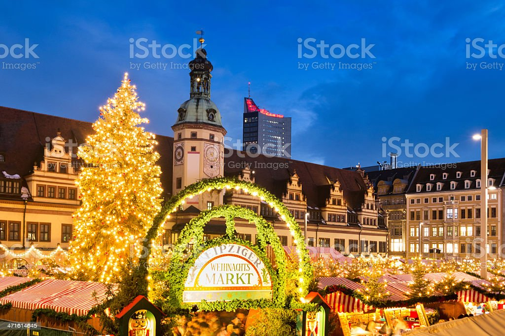 Christmas Market in Leipzig, Germany stock photo