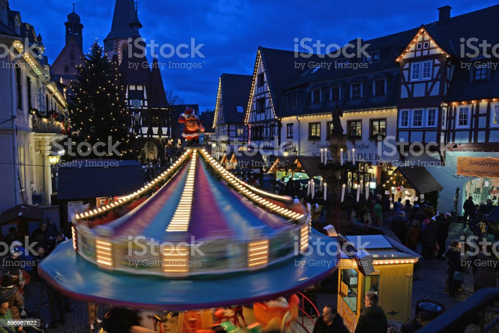 Christmas market in Michelstadt, Germany stock photo
