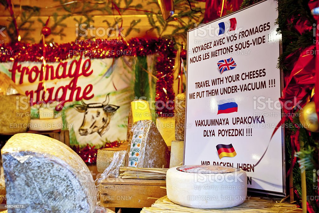 Christmas Market in Paris.Cheese package for tourists. royalty-free stock photo