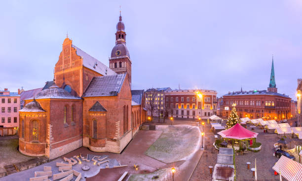 Christmas Market in Riga, Latvia stock photo