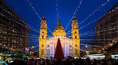Christmas Market in Saint Stephen Basilica square, Budapest, Hungary