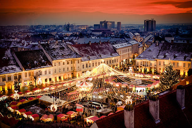 christmas market in sibiu main square, transylvania romania. bea - romania stock pictures, royalty-free photos & images