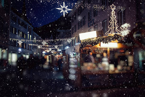Christmas market in Switzerland, Chur stock photo