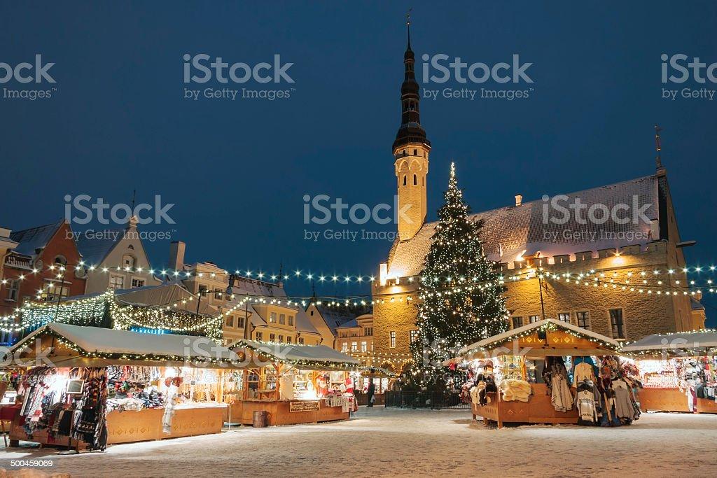 Christmas market in Tallinn, Estonia stock photo