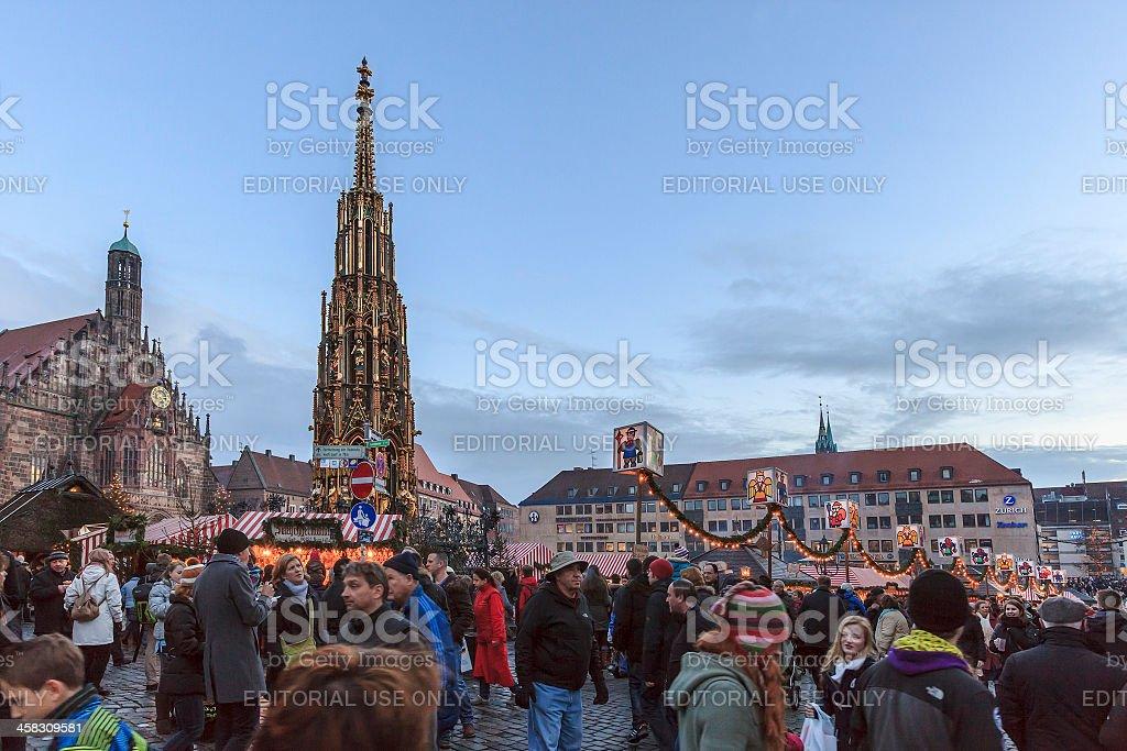 Christmas Market in the Hauptplatz, Nuremberg royalty-free stock photo