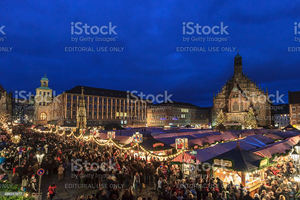 Christmas Market in the Hauptplatz, Nuremberg stock photo