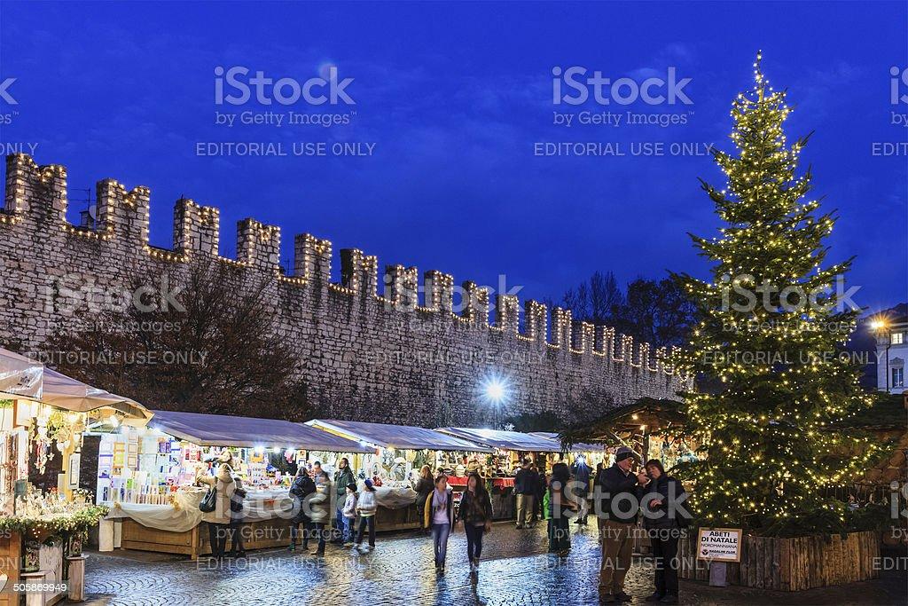 Christmas market in Trento, Italy stock photo