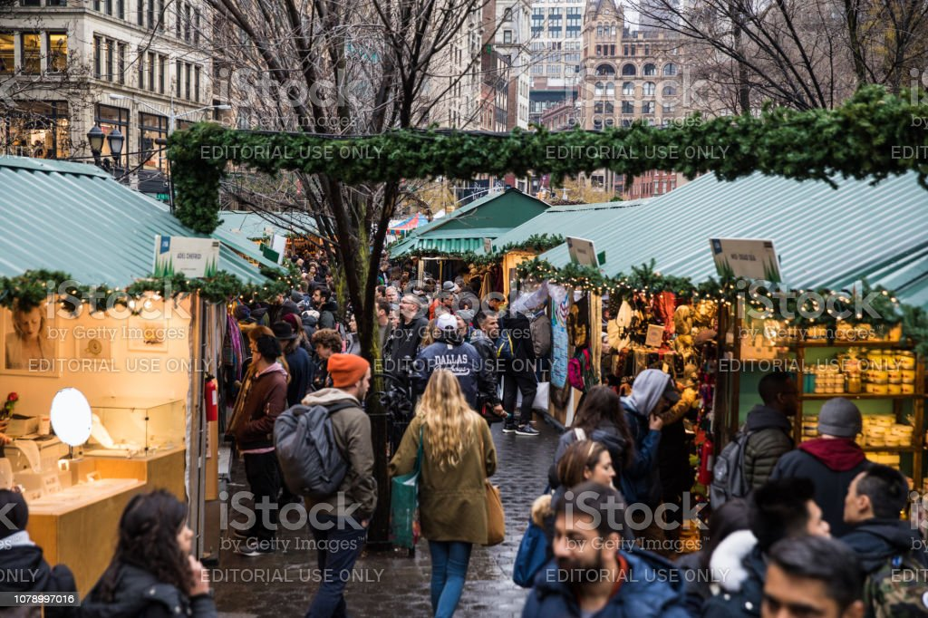 Christmas Market in Union Square New York - USA stock photo