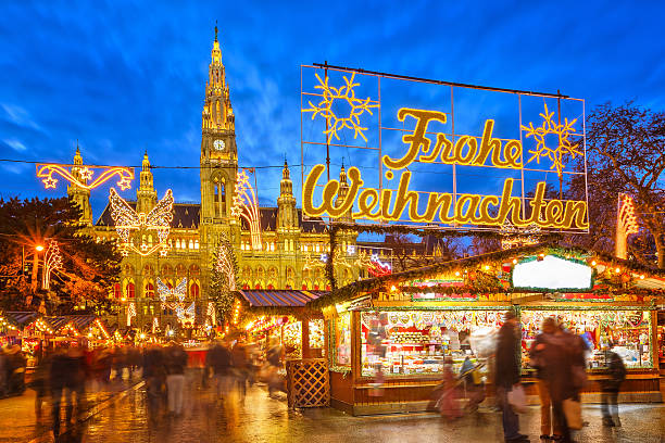 christmas market in vienna - vienna stock photos and pictures