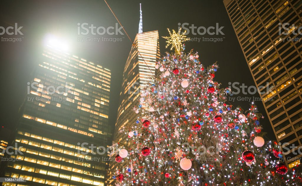 Christmas Market New York City.Christmas Market Lamps In New York City Stock Photo