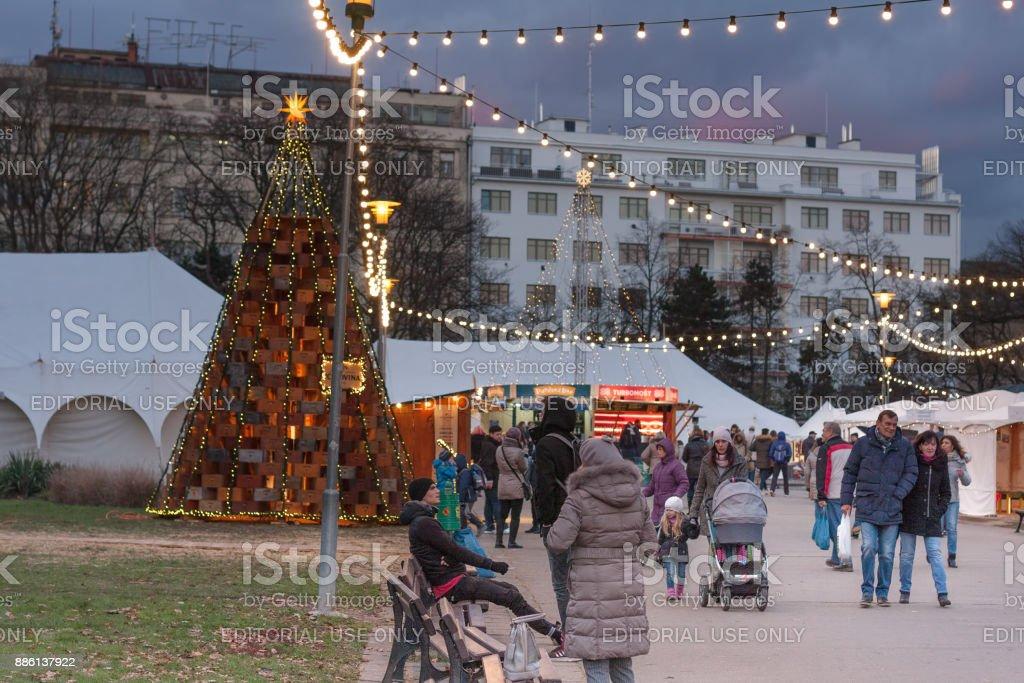 Christmas market on Moravian Square in Brno stock photo