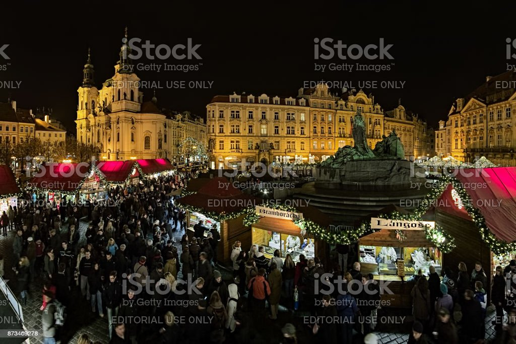 Christmas market on the Old Town Square in Prague, Czech Republic stock photo