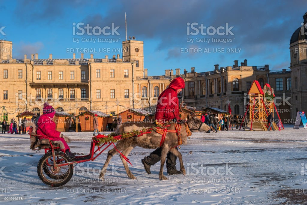 Christmas market on the parade ground in front of the Gatchina Palace. Attraction - riding on the reindeer. stock photo