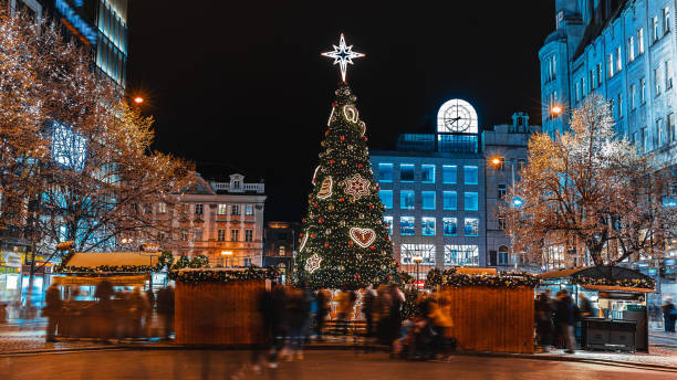 Christmas market on the Wenceslas Square in Prague Christmas market on the Wenceslas Square in Prague wenceslas square stock pictures, royalty-free photos & images