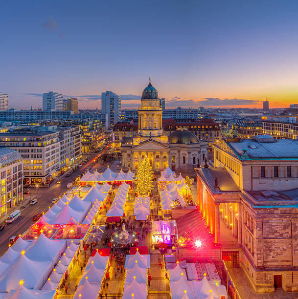 Christmas Market Panorama Skyline on Gendarmenmarkt in Berlin Christmas Market Panorama Skyline on Gendarmenmarkt in Berlin, Europe gendarmenmarkt stock pictures, royalty-free photos & images