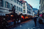 Christmas market snow in Switzerland, Europe