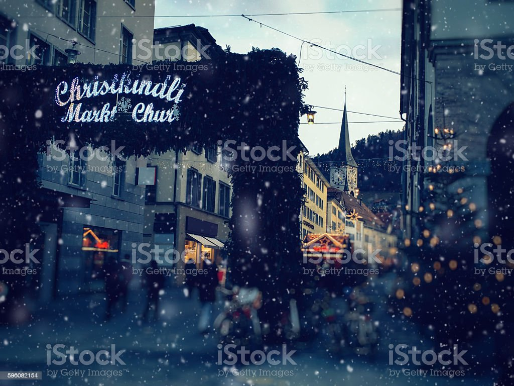 Christmas market snow in Switzerland, Europe royalty-free stock photo