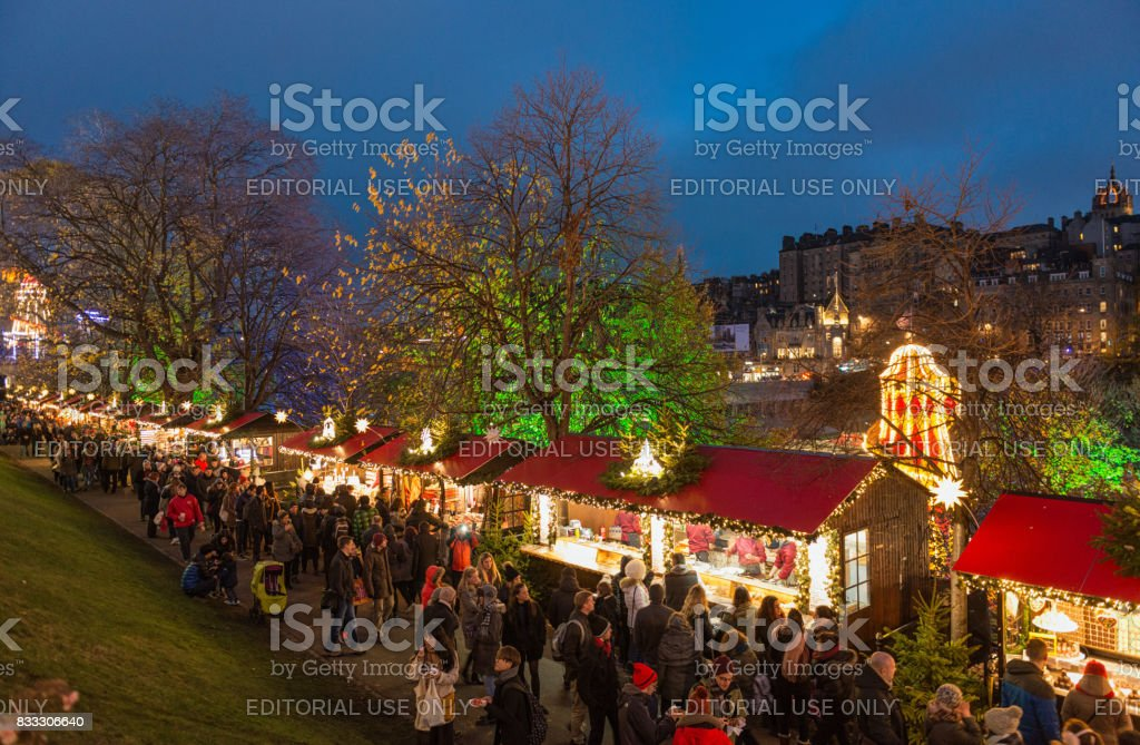 Christmas Market Stalls in Edinburgh stock photo