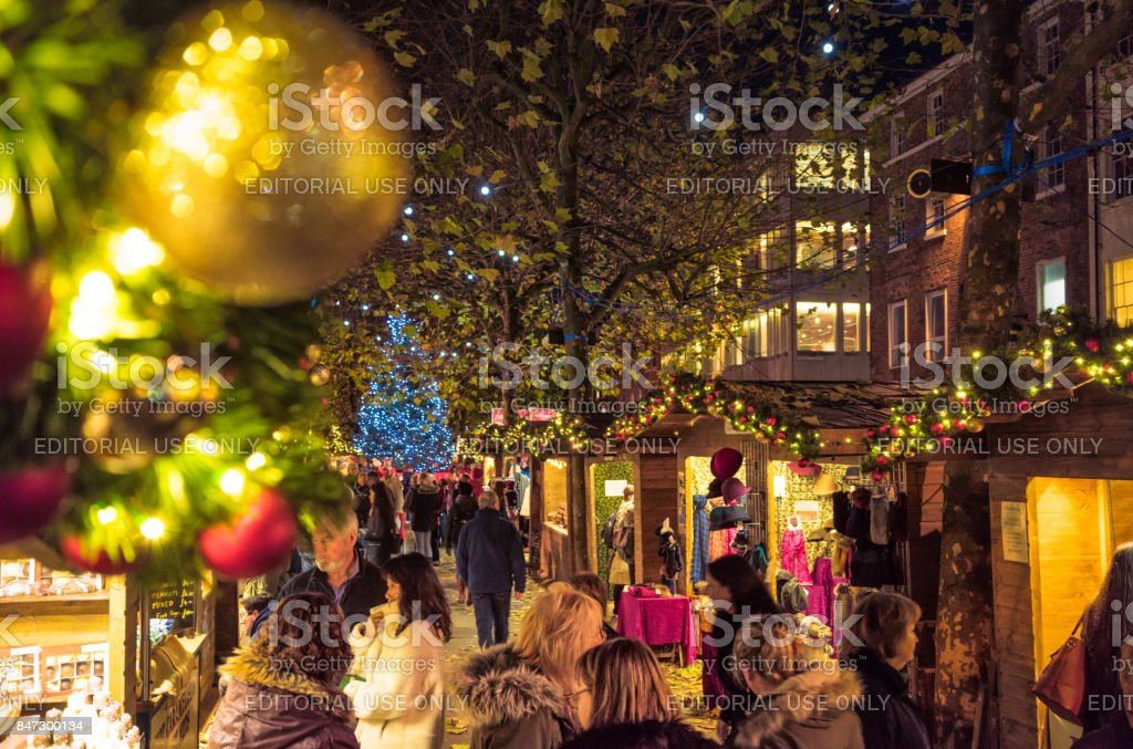 Christmas market stalls in Manchester, England royalty-free stock photo