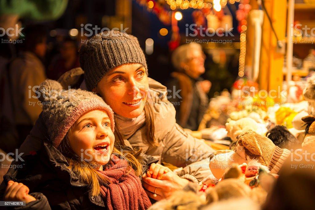christmas market surprise stock photo