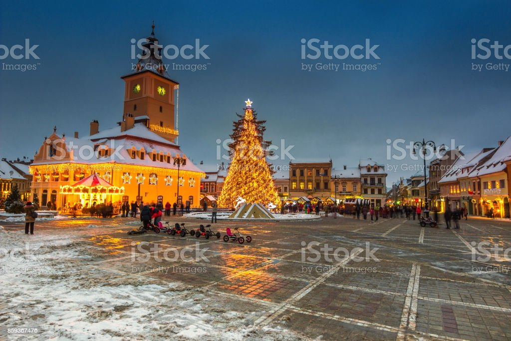 Christmas market with decorated tree in the city center, Brasov stock photo