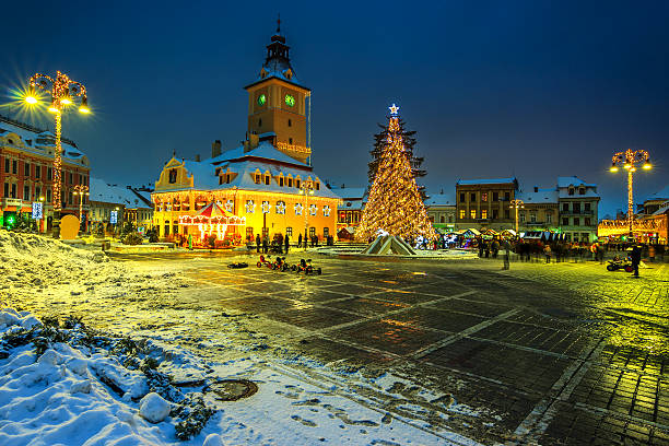 Christmas market with decorated tree in the city center,Brasov stock photo