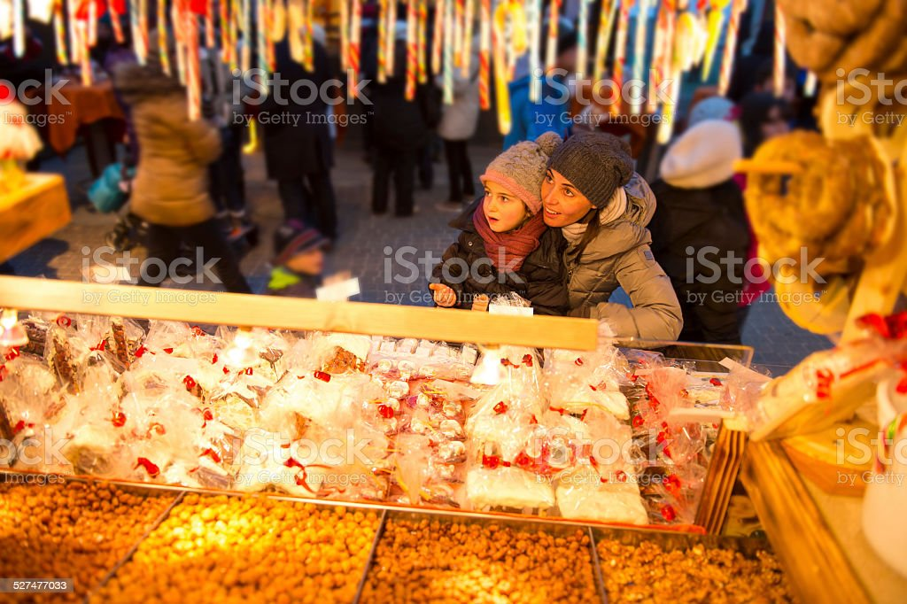 Christmas market with sweets stock photo