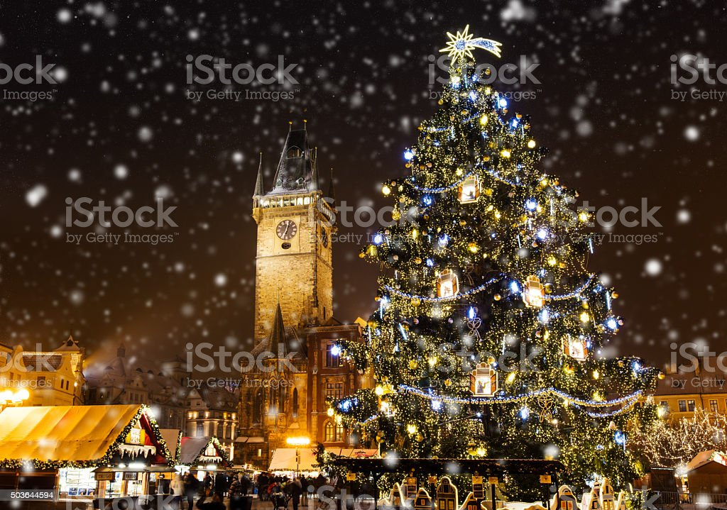 Christmas marketplace in Oldtown square, Prague stock photo